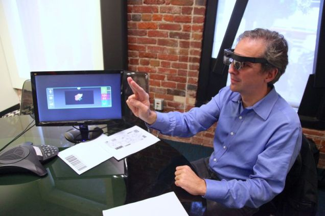 Atheer CEO Alberto Torres demonstrates a medical application on the Atheer augmented reality headset.