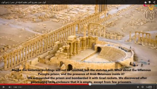 Screenshot of Palmyra illustrating alleged ISIS video. (blouinartinfo.com)